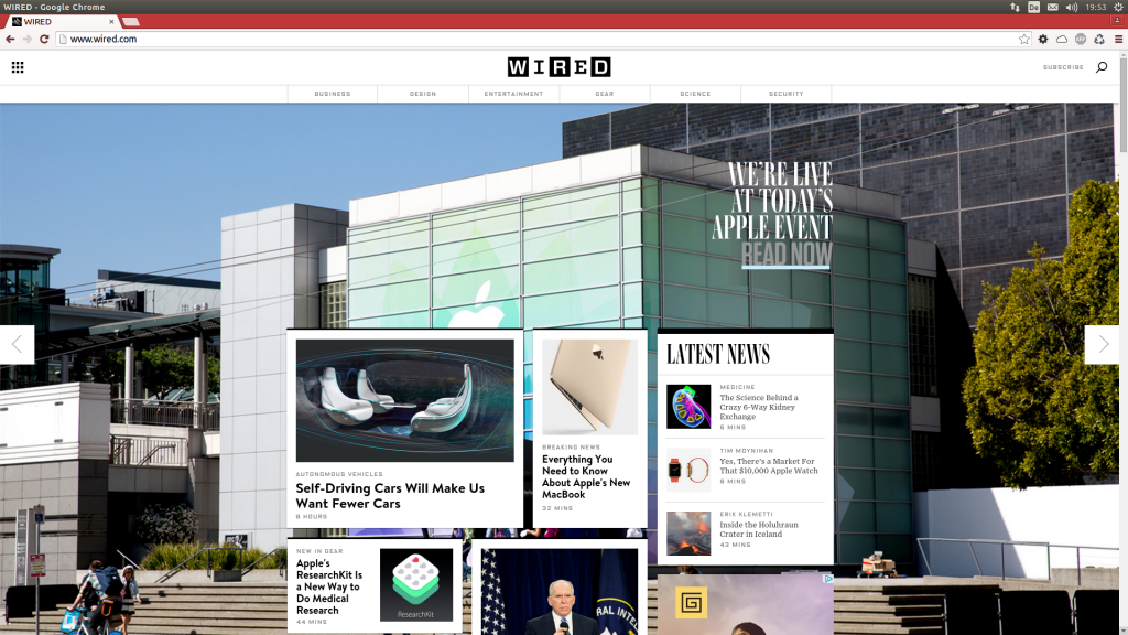 Screenshot der wired.com-Homepage vom 09.03.2015